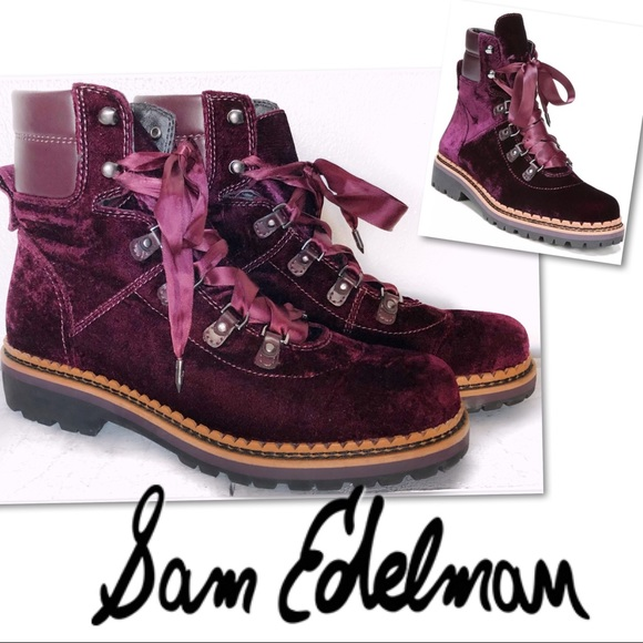 Sam Edelman Shoes - SAM EDELMAN BROWAN WINE VELVET LACE HIKER BOOTS 7